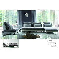 Luxury Gray Palms Fabric Sectional Sofa - Chaise