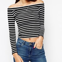 ASOS PETITE Exclusive Top With Bardot Neck In Stripe
