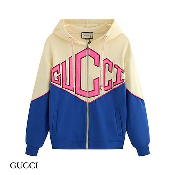 Free shipping-GUCCI Tide brand stitching hooded jacket