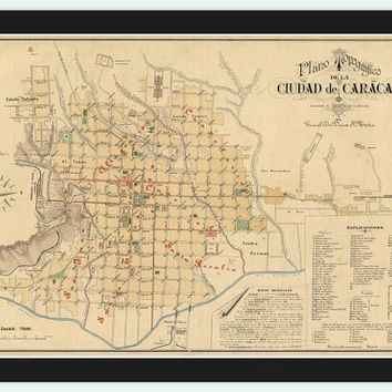 Old Map of Caracas Venezuela 1889