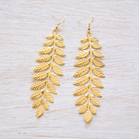 Gold Laurel Leaf Earrings, Gold Leaf Earrings, Leaf Earrings, Grecian Earrings, Laurel Leaf, Earrings, Boho Earrings, Greek Jewelry, Leaves