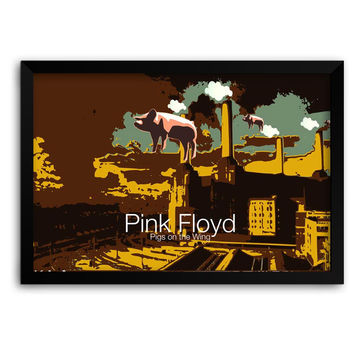 Pigs on the Wing Pink Floyd Matte Framed Poster