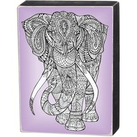 Wooden Box Sign - Elephant