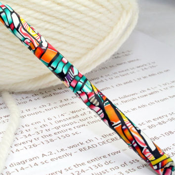 Polymer clay covered crochet hook, new size D3 or 3.25mm, Susan Bates brand, OOAK design