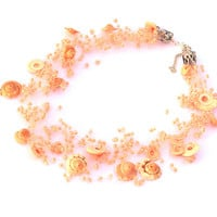 Peach Necklace. Spring Necklace. Beadwork. Beaded Multistrand Necklace.
