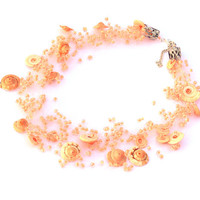 Peach Necklace. Beaded Multistrand Necklace. Beadwork