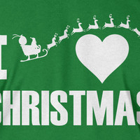I Love Christmas T-Shirt GREEN Xmas Winter Holiday T-Shirt T Shirt Gift Idea Geek Snow Flake Mens Ladies Womens