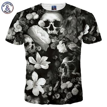 Mr.1991INC Men/women 3d T-shirt Print White Flowers Skulls Hip Hop Tshirts Rock Quick Dry Summer Tops Tees