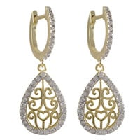Gold And Rhodium Plated Sterling Silver Filigree Earrings With CZ Border