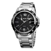 Zlyc Men's Classic Stainless Steel Band Luminous Round Dial Calendar Watch