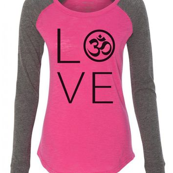 "Womens ""Heart I Love Ohm"" Long Sleeve Elbow Patch Contrast Shirt"