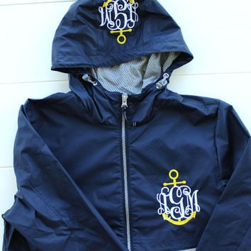 Monogrammed Raincoat Charles River Apparel Wind and Waterproof Jacket