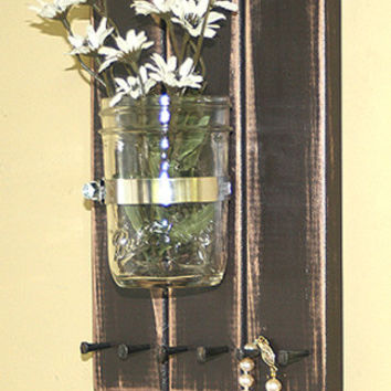 Jewelry Organizer Storage 3 Wood Plank Mason Jar Wall Vase Necklace Holder  Key Rack Dog Leash Rack