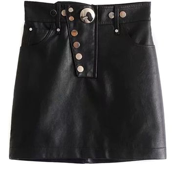Black High Waist Button Front Leather Look Pencil Mini Skirt