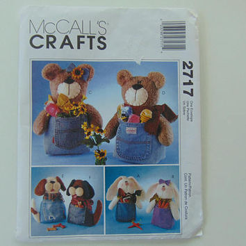 McCall's Crafts 2717 Jeanie Babies Sewing Pattern Bears, Dog and Rabbits 12 inch Stuffed Jean Dolls