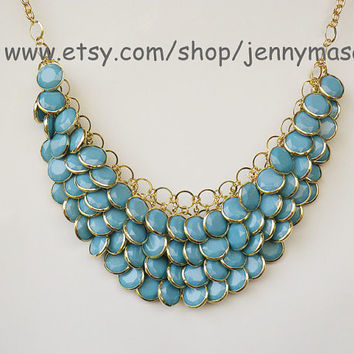 Light Bule Jewelry Wedding Necklace Bridesmaid Gift - Bubble Statement Necklace,Mermaid Necklace ,Turquoise necklace
