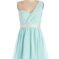 ModCloth Pastel One Shoulder A-line Right Place, Delightful Time Dress