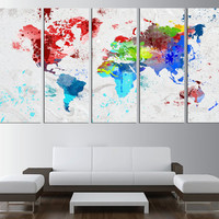World map wall art canvas print, watercolor world map canvas art, large wall art world map, extra large wall art, watercolor world map t177