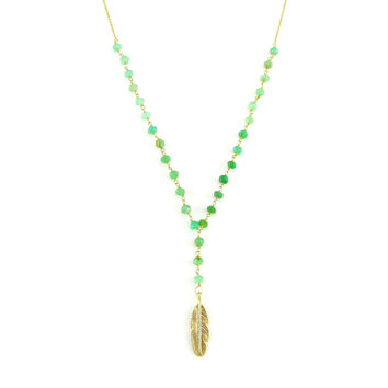 Long Beaded Chrysoprase Necklace with Leaf Accents