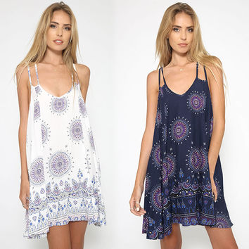 Summer Sexy Print Spaghetti Strap One Piece Dress [8096401223]