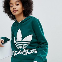 adidas Originals adicolor Trefoil Hoodie In Green at asos.com