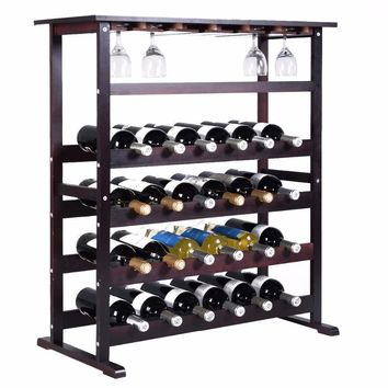 Goplus New 24 Bottles Wooden Wine Rack Bar Bottle Holder Storage Home Kitchen Wine Display Shelf with Wine Glass Hanger HW51143
