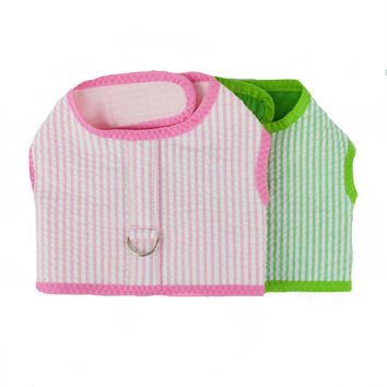 Seersucker Dog Vest Harness in Two Colors