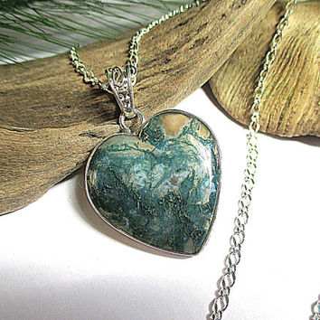 Moss Agate Heart Necklace, Agate Stone Pendant, Sterling Silver, Moss Agate Stone Jewelry