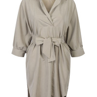 Khaki Tied Waist Dipped Shirt Dress