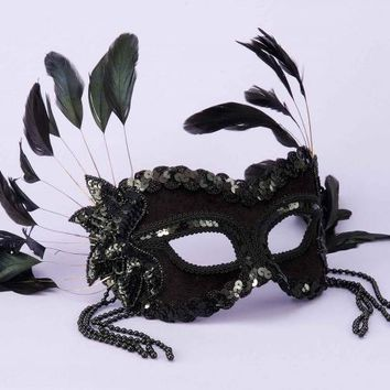Black Half Mask  w/ Beads &Feathers