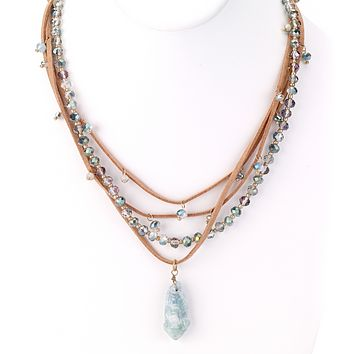 Aqua Crystal Pendant Leather Necklace