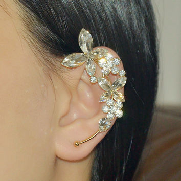 Leaf ear cuff - Crysyal ear cuff - Gold - Bohemain - Punk style - No piercing needed
