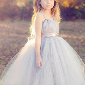 2017 Cheap tulle gray baby bridesmaid flower girl fluffy ball gown birthday evening prom cloth tutu party dress
