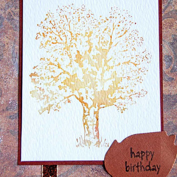 Watercolor Autumn Tree Birthday Card, Handmade Greeting Card with Stamped Watercolor Image, Happy Birthday in Fall Colors, Orange and Rust
