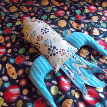 Retro Stuffed Rocket ship/Space ship for Boys, Toy, Pillow, Travel, Toddler, Kid