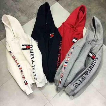 Tommy Hilfiger Trending Women Men Print Hoodie Top Sweater I