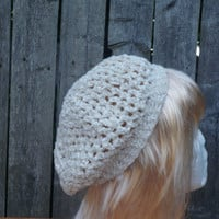 White Chenille hat with gold sparkles, winter hat, holiday hat
