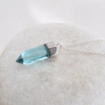Classic Aqua Quartz Point Shape 8x25mm 925 Sterling Silver Pendant Necklace, Handmade Pendant Jewelry, Gemstone Pendant #5104
