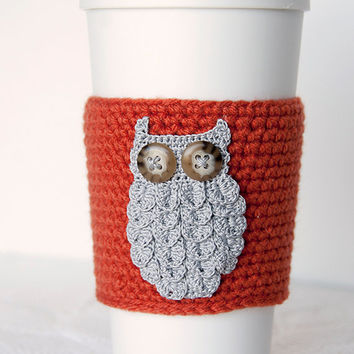 Coffee Cozy, gray woodland owl, crocheted, pumpkin orange sleeve, harvest orange, light charcoal owl, cup sleeve