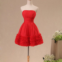 Red ruched knee-length A-line ruched chiffon plus size prom bridesmaid dress homecoming dress Christmas Dress ET245