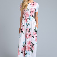 Short Sleeve Floral Maxi Dress - Ivory with Pink Flowers