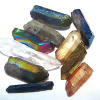 Rock crystal points 10 piece sampler set mixed natural and coated colors