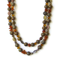 Double Strand Baltic Amber Jasper Necklace, Natural Brown Yellow, Semiprecious Rustic Stone Jewelry, OOAK Handmade Unique, ALFAdesigns