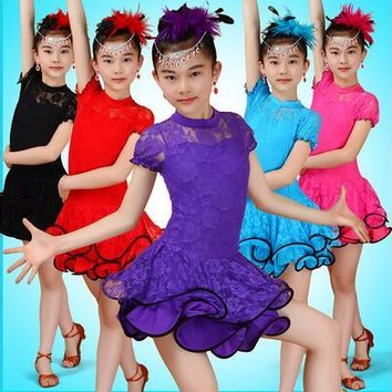 New Dance Costumes For Kids Sexy Lace Latin Dance Dress Ballroom Dance Dresses Salsa Dancewear Tango Clothes For Girls