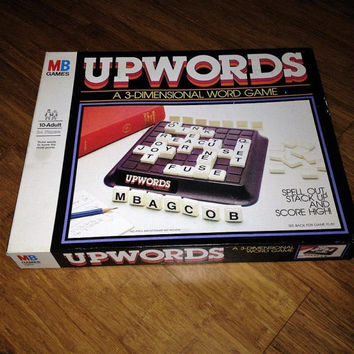 Vintage 1983 Version of UPWORDS by Milton Bradley / Complete Game / A 3-Dimensional Word Game / Retro board Game for the Whole Family