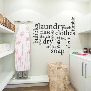Laundry Room Subway Art Vinyl Wall Decal by LittleMooseDecals