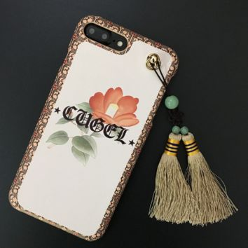 Fashion Gothic flowers printed tassels plastic Case Cover for Apple iPhone 7 7Plus 6 Plus 6 -05012