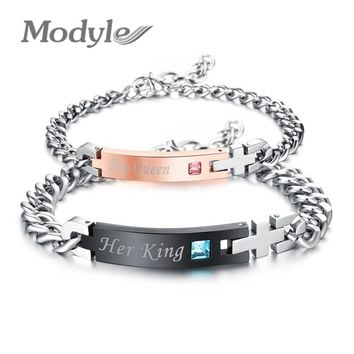 """Modyle Unique Gift for Lover """"His Queen""""""""Her King """" Couple Bracelets Stainless Steel Bracelets For Women Men Jewelry"""