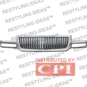 Gmc 2003-2006 Gmc Sierra Chrome Vertical Narrow Bar Abs Grille Performance