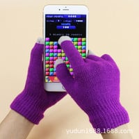 Unisex Touch Screen Stretchy Soft Warm Winter Gloves for Mobile Phone Tablet Pad wrist solid color mittens GL0004